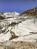 Melting glaciers in the swiss alps — Stock Photo