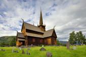 Lom stave church - stavkirke - medieval temple — Stock Photo