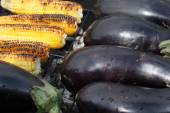 Barbecuing vegetables on charcoal fire closeup image. — Stock Photo