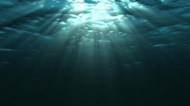 Looping ocean waves, underwater. Light rays. — Stock Video
