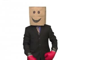 The paperbag man is boxing — Stock Video