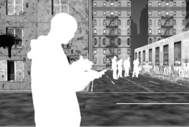 Animation of people in city streets — Stock Video