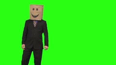 The paperbag man congratulates you — Stock Video