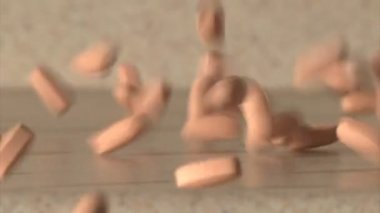 Pills dropped and sliding on the ground — Wideo stockowe