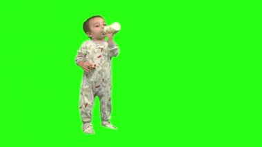 Baby boy sits, stands, and moving — Stock Video