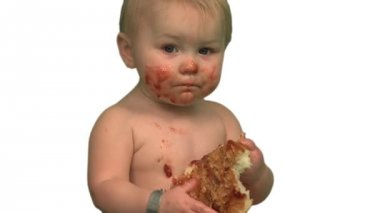 Baby eating sandwich — Video Stock