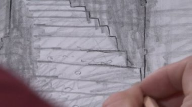 Detail of pencil drawing — Stockvideo