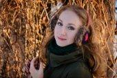 The beautiful girl on winter walk — Stock Photo