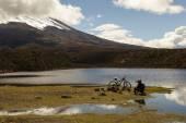 Cyclist an Cotopaxi — Стоковое фото
