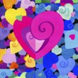 Painted decorative heart on the background of many colors, beautiful. small and large hearts.   Background. the texture. — Stock Photo #66150559