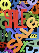 Multicolor samenstelling van verschillende lettertypen van het woord 'verkoop' op een zwarte achtergrond. — Stockfoto