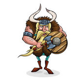 Funny Angry Viking in cartoon style — Stock Vector