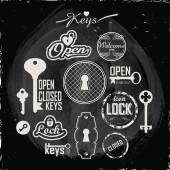 Keys, locks, keyholes on a blackboard. — Stock Vector