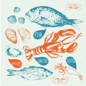 Boceto dibujado a mano de pescados y mariscos. — Vector de stock