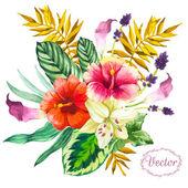 Ilustracja wektorowa z akwarela kwiaty. — Wektor stockowy