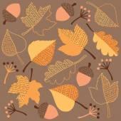 Autumn Leaves, Acorns, and Berries Set — Stock Vector