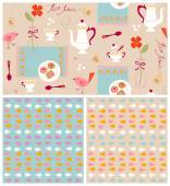 Pattern Set with Poppies and Birds — Stock Vector