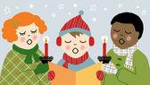 Children Christmas Caroling — Stock Vector