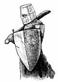 Templar with sword and shield — 图库矢量图片