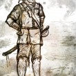 Drawing of Old Armed Pirate with Sword — Stock Photo #64923499