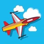 Avión en el cielo — Vector de stock