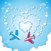 Two planes in the sky — Cтоковый вектор