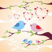 Two birds in love on the branch — Wektor stockowy