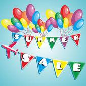 用气球和飞机的夏季大减价 — 图库矢量图片