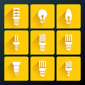 Flat icons of vector bulbs — Stock Vector