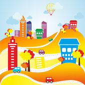 Autumn urban landscape — Stock Vector
