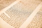 The Hebrew handwritten Torah scroll text close up — Stock Photo
