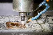 CNC drilling machine in a modern plant making plastic detail — 图库照片