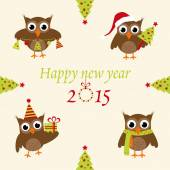 New Year's owls — Stock Vector
