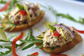 Salmon Salad Canapes — Stock Photo