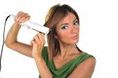 Beautiful middle aged woman straight hair — Stock Photo