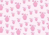 Vector Background Sweet Pink Cupcake — Stock Vector