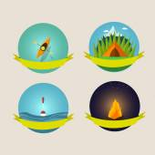 Set of camping equipment symbols and icons — Vecteur