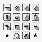 Barber shop tools and haircut icons set — Stok Vektör