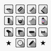 Barber shop tools and haircut icons set — Stock Vector