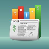 Infographics newspaper and its main news items — Stock Vector