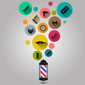 Vintage barber shop tools silhouette icons set — Stock Vector
