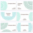 Set of six business cards. Vintage pattern in retro style with o — Stock Vector #74909059