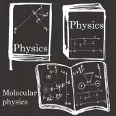 Set of physics textbook, workbook on school board. Freehand draw — Stock vektor