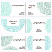 Σύνολο έξι επαγγελματικές κάρτες. vintage μοτίβο σε στυλ ρετρό με o — Διανυσματικό Αρχείο