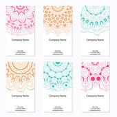 六つのビジネス カードのセットです。o でレトロなスタイルのビンテージ パターン — ストックベクタ