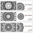 Set of six business cards. Vintage pattern in retro style with mandala. Hand drawn Islam, Arabic, Indian, lace pattern — Stock Vector #79553310
