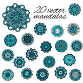 Abstract design elements. Set of round mandalas in vector. Graph — Stock Vector