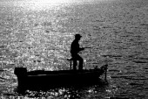 Fisherman Silhouette — Stock Photo