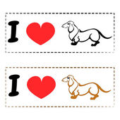 I love Dachshund - simple logo fo those who loves this beautiful small dog. — Stock Vector