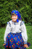 Young Girl In Romanian Traditional Dress. Maramures Area, Romania. — Stock Photo